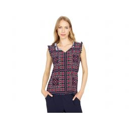 Tommy Hilfiger Patch Print Ruffle Tie-Neck Knit Top