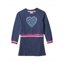 Folk Floral Heart Rib Dress (Toddler/Little Kids/Big Kids)
