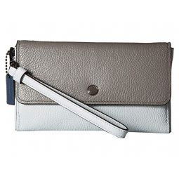 Triple Small Wristlet in Color Block Leather