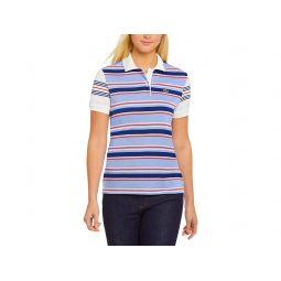 Womens Short Sleeve Regular Fit Striped Polo Shirt