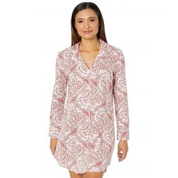 LAUREN Ralph Lauren Knit Long Sleeve Notch Collar Sleepshirt