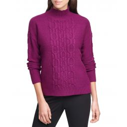 Chain Stitch Solid Mock Turtleneck