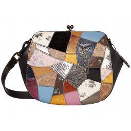 Patchwork Leather Frame Saddle Bag