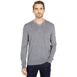 Lacoste Long Sleeve Solid V-Neck Sweater