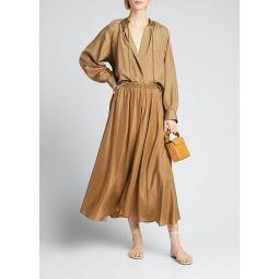 Gathered Silk Pull-On Midi Skirt