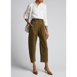 Slim Collar Button-Down Linen Shirt