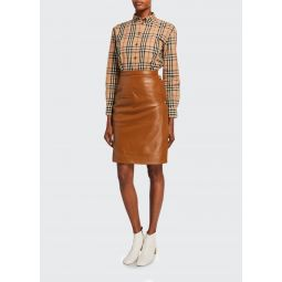 Leather Button-Side Skirt