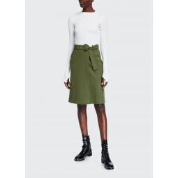 Two-Tone Silk-Top Dress with Wool Knit Skirt