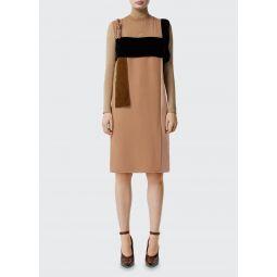 Leather-Strap Chiffon Mix Dress