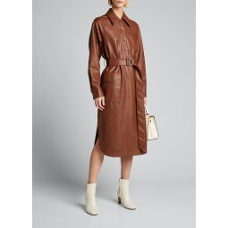 Faux-Leather Belted Shirtdress