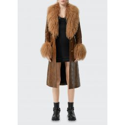 Shearling Trim Embossed Leather Coat