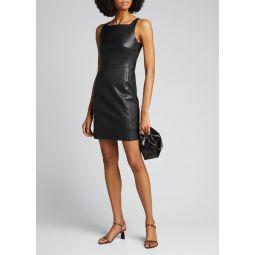 Square-Neck Leather Short Dress