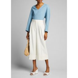 Chalky Drape Sculpted Long-Sleeve Top