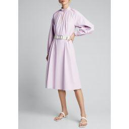Tissue Faux-Leather Edwardian Dress w/ Belt