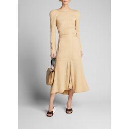 Plisse Front-Slit Flared Long Skirt