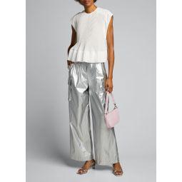 Metallic Pleated Cargo Pants