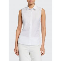 Pinstriped Fitted Sleeveless Button-Down Shirt