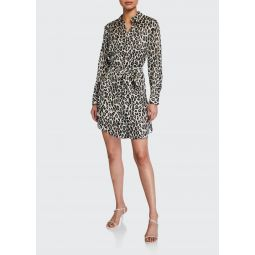 Clean Leopard-Print Silk Shirtdress