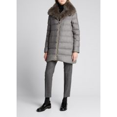Silk-Cashmere Coat with Fur Trim