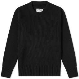 Maison Margiela Ribbed Crew Knit Black