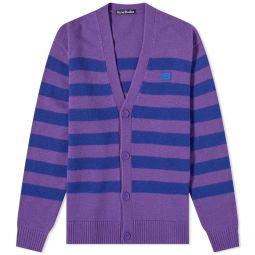 Acne Studios Kimano Stripe Face Cardigan Purple & Blue