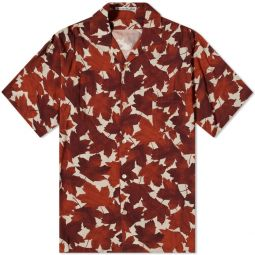 Acne Studios Short Sleeve Sandimper Maple Print Shirt Rust Orange