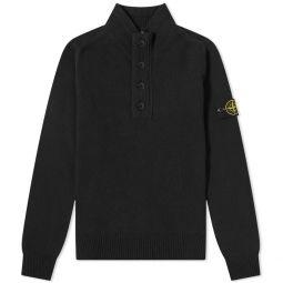 Stone Island Lambswool Half Button Knit Black
