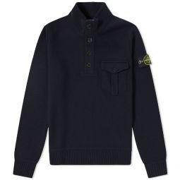 Stone Island Half Button Pocket Knit Navy