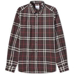 Burberry Caxton Check Shirt Burgundy Check