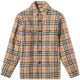 Burberry Calmore Fleece Lined Shirt Jacket Archive Beige Check