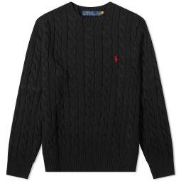 Polo Ralph Lauren Cotton Cable Crew Knit Polo Black