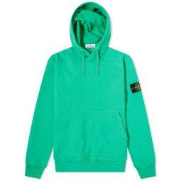Stone Island Garment Dyed Popover Hoody Bright Green