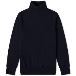 Maison Margiela Reversed Seam Roll Neck Knit Dark Blue