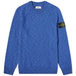 Stone Island Cotton Wool Marl Crew Knit Bright Blue