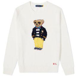 Polo Ralph Lauren Regatta Bear Intarsia Knit Old White