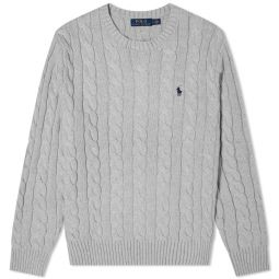 Polo Ralph Lauren Cotton Cable Crew Knit Fawn Grey Heather