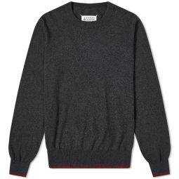 Maison Margiela Contrast Classic Crew Knit Anthracite & Red