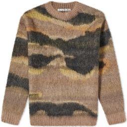 Acne Studios Klinac Fur Print Knit Multi Beige
