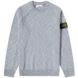 Stone Island Cotton Wool Marl Crew Knit Light Grey