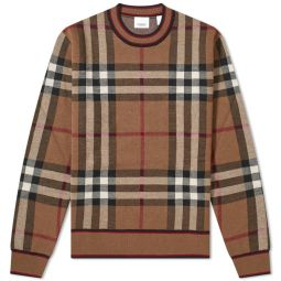 Burberry Naylor Check Crew Knit Birch Brown