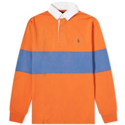 Polo Ralph Lauren Bold Stripe Rugby Shirt Kona Orange & Deep Blue
