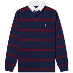 Polo Ralph Lauren Striped Rugby Shirt Hunter Navy & Classic Wine