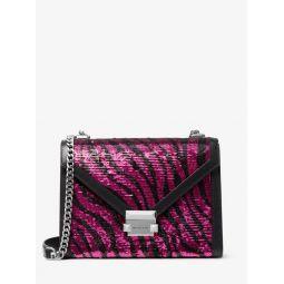 Whitney Large Zebra Sequined Convertible Shoulder Bag