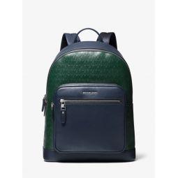 Hudson Two-Tone Logo Debossed Leather Backpack