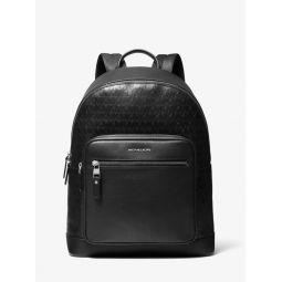 Hudson Logo Debossed Leather Backpack