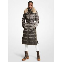 Quilted Nylon Belted Puffer Coat
