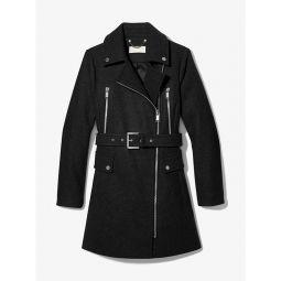 Wool Blend Zip Front Coat
