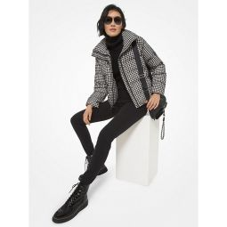 Quilted Houndstooth Nylon Puffer Jacket