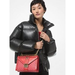 Quilted Faux Leather Puffer Jacket
