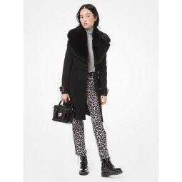 Faux Fur-Collar Wool Coat